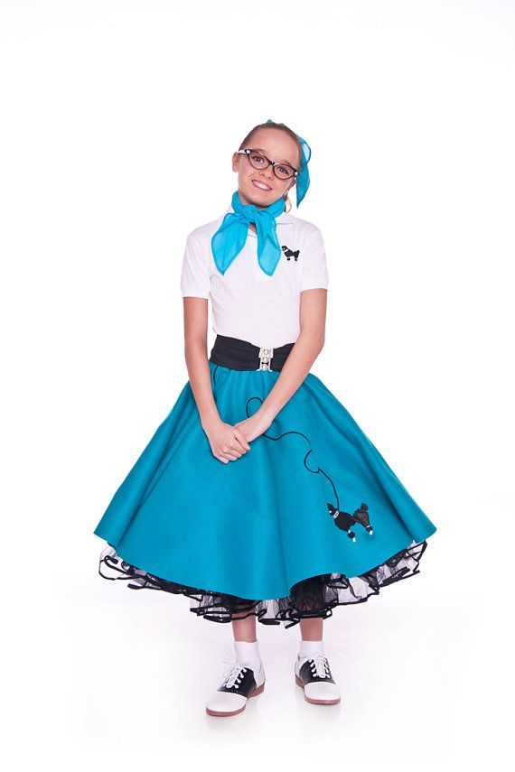 Girls 50s Poodle Skirt TEAL By Hiphop50sshop 2599