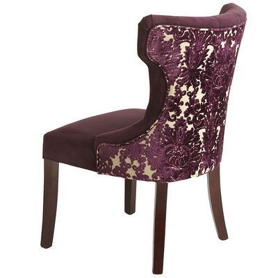 Elegant Hourglass Chair In Royal Purple Velvet With Nine Button Tufts Deep Comfortable Padding Nailhe Dining Chairs Tufted Dining Chairs Purple Dining Chairs