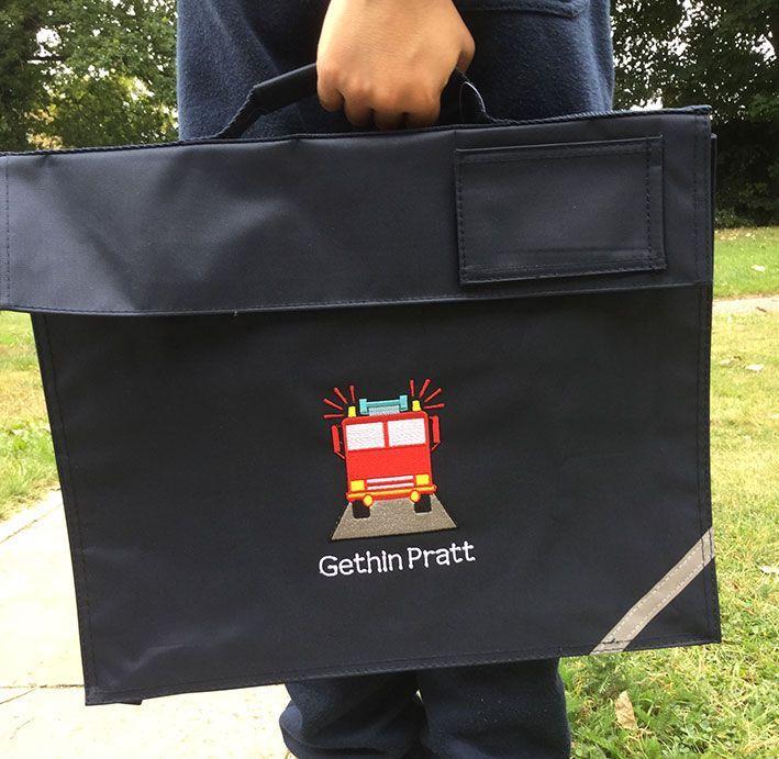 Personalised FIRE ENGINE School Book Bag | Bags, School