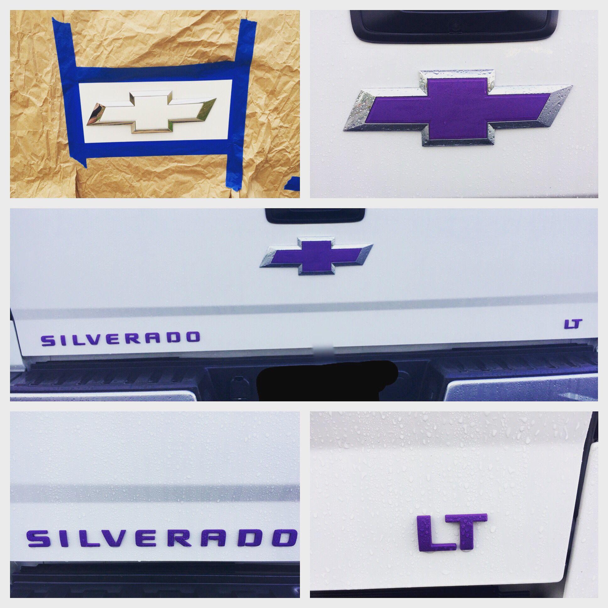 Purple Plasti Dip Emblems On My 2014 Rocky Ridge Silverado Chevy Silverado Plastidip Purple Bowtie Emb Chevy Silverado Accessories Chevy Jeep Interiors