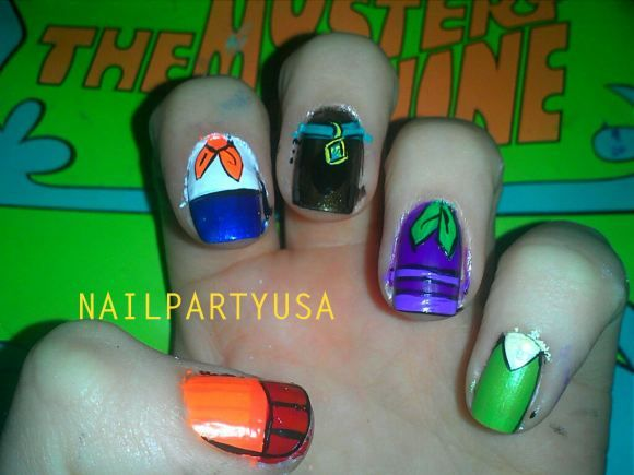 How Cool Is This Scooby Doo Cast Nail Art Awesome Nail Art