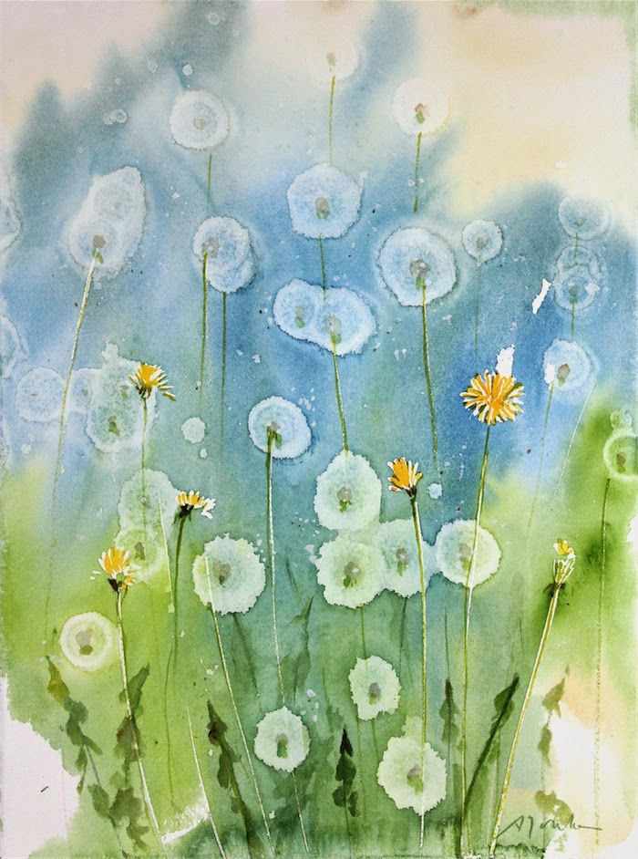 Today S Painting And Video How To Dandelion Watercolor Painting Using Alcohol Droplets Fine Art Giclee Prints Watercolor Flowers Watercolor Art