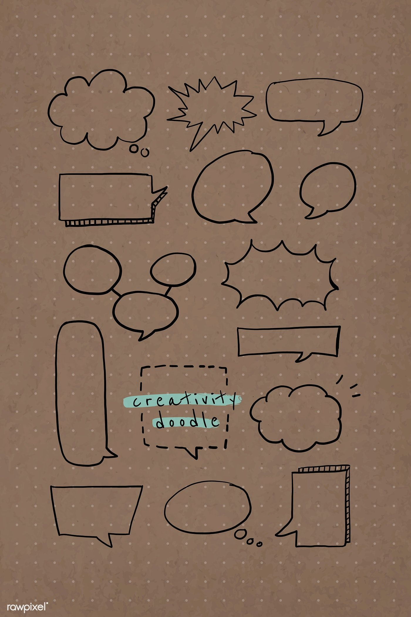 Download premium vector of Speech bubble creativity doodle