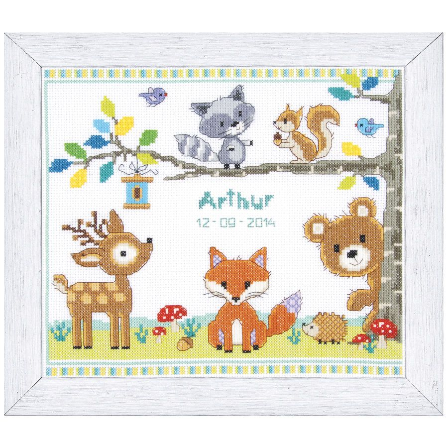Forest Animals Birth Record Cross Stitch Needlepoint – Birth Announcements Cross Stitch
