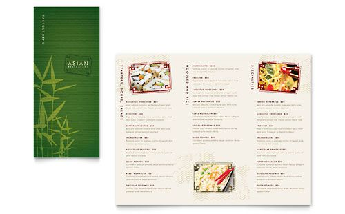 Asian Restaurant Take Out Brochure Template Design Restaurant Menu Template Menu Template Menu Restaurant