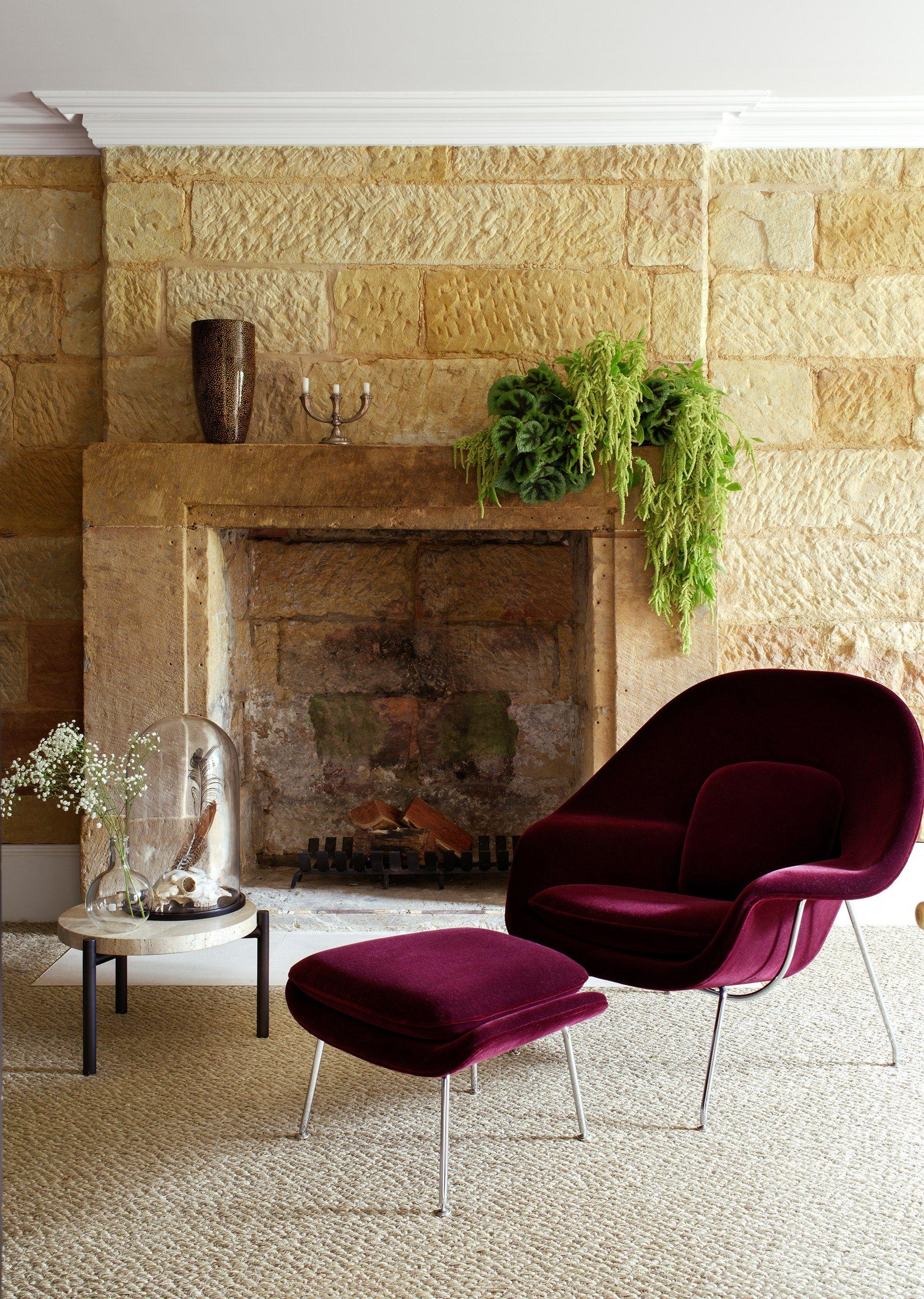 The Classic Eero Saarinen U0027Wombu0027 Chair And Ottoman In Plum Velvet From  [Dedece