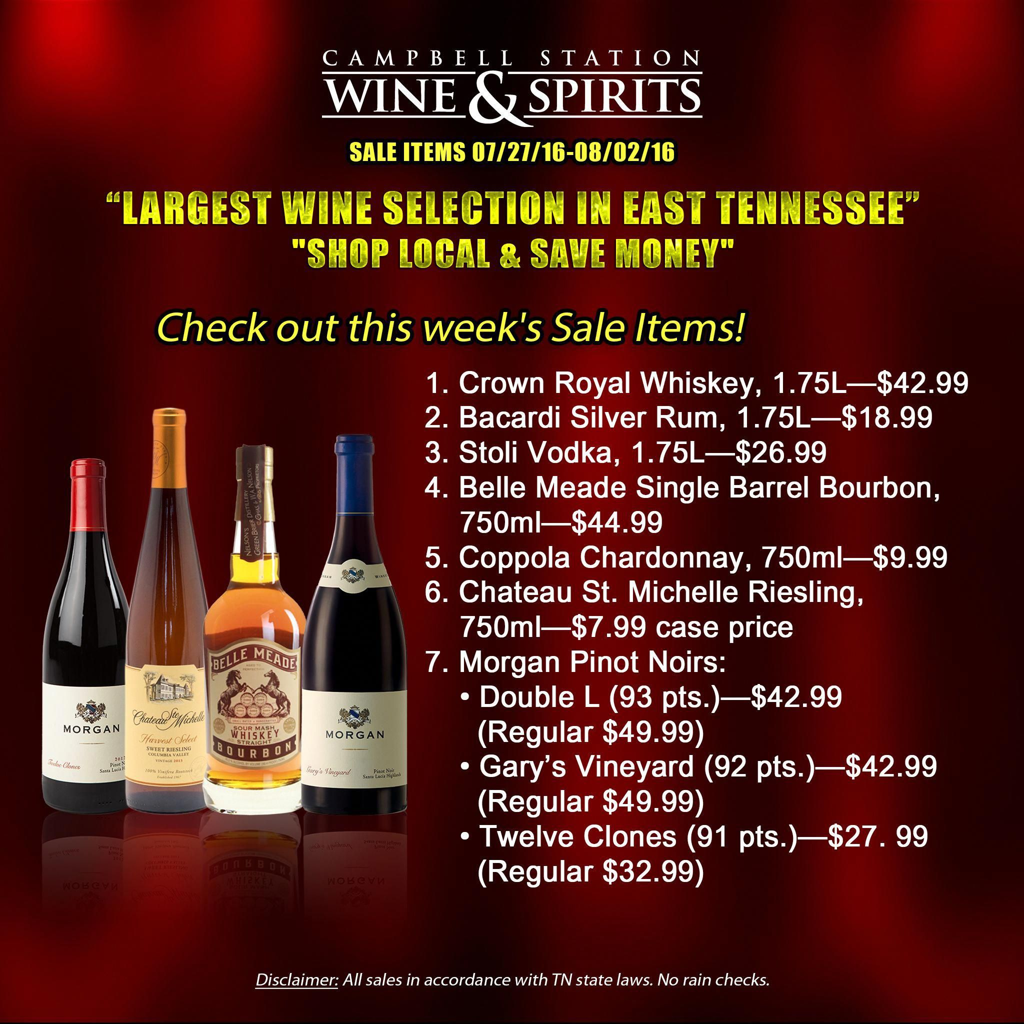 The Largest Wine Selection In East Tennessee Offers You Great Wine Deals Every Week For Your Regular Fix Of Single Barrel Bourbon Stoli Vodka Wine And Spirits