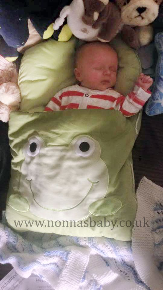 """3804a60ed0d0 Baby Beau sleeps soundly in his Googly Green Nap Mat! Mummy Lucy commented  """"He"""