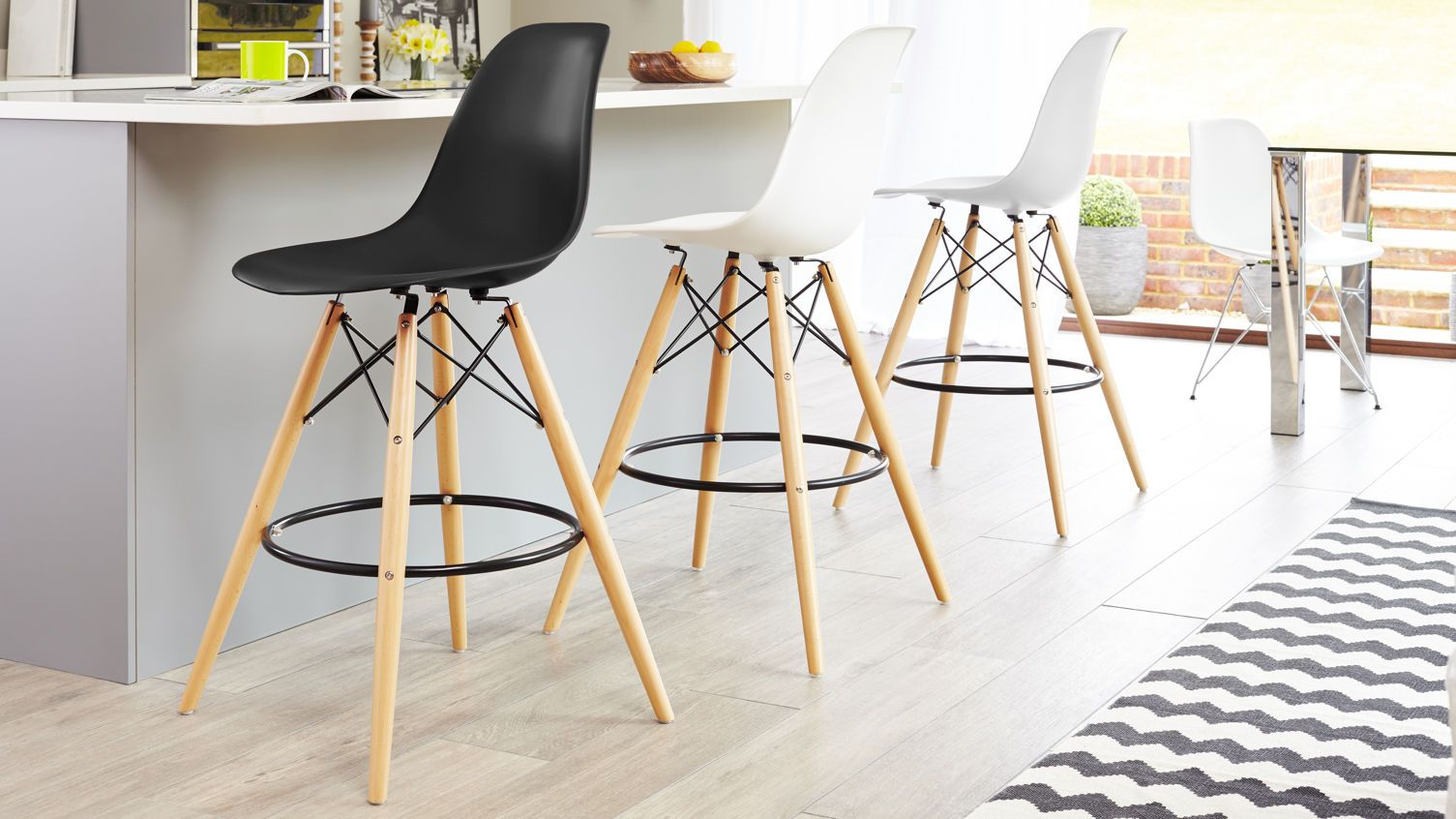 Eames style bar stool in black white and cool grey from for Eames hocker replica