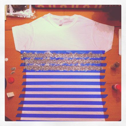 Easy DIY: How to Make A Glitter Striped Tee. but actually do this on a tank top and have it be the american flag