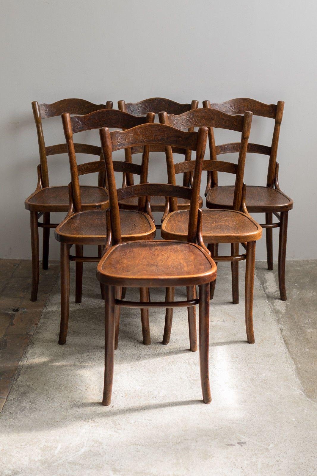6er satz thonet bugholz st hle bistro kneipenst hle sitz r cken gepr gt um 1900 ebay and bistros. Black Bedroom Furniture Sets. Home Design Ideas