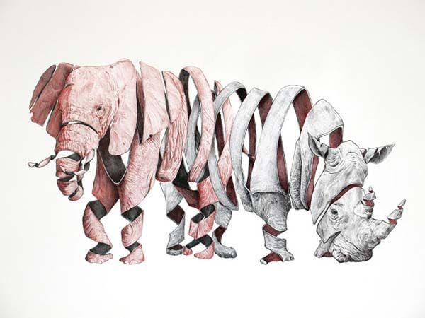 Emptyland - ribbon effect animal drawing by Jaume Montserrat