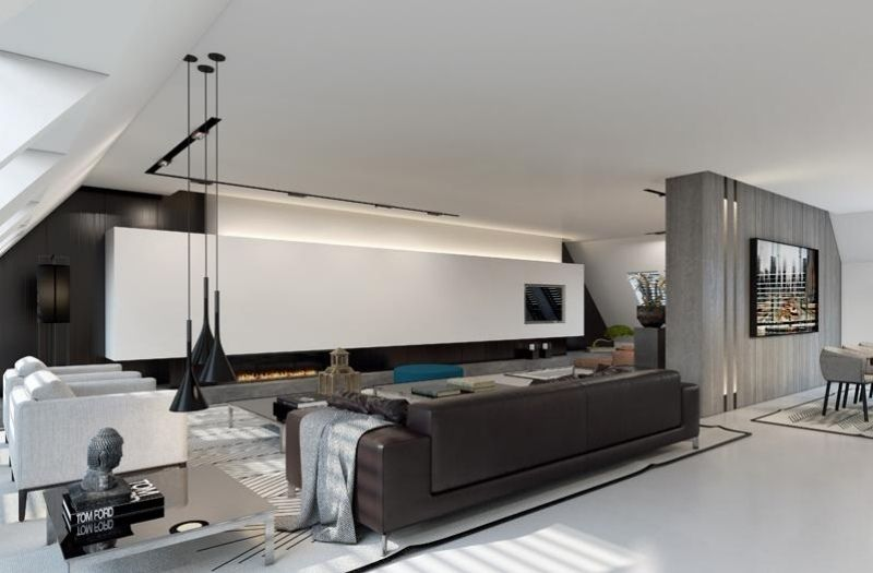 indirekte beleuchtung led wohnzimmer wandpaneel hinter. Black Bedroom Furniture Sets. Home Design Ideas