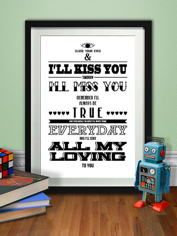 All My Loving Music Poster The Beatles Typography Art Print Digital Illustration Download Type Rock And Typography Printable All My Loving Beatles Lyrics