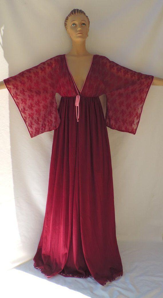 0a0cf068b9d Lingerie JENELLE Of California Vintage Peignoir Set Wine Nylon Tricot  Peignoir Robe Nightgown Neglig