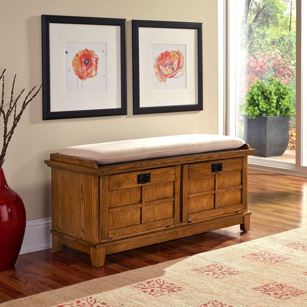 Oak Lift Top Bench Wood Padded Trunk Mudroom Storage Hope Chest ...