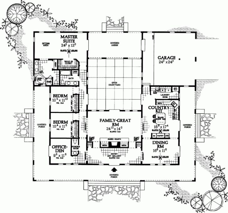 Awesome U Shaped Home Plans Throughout Ranch Style House Plans ...