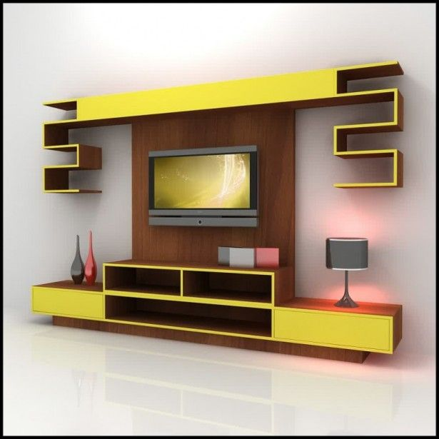Living Room Furniture Varnish Wooden And Yellow Led Tv Wall Cabinet Ornament