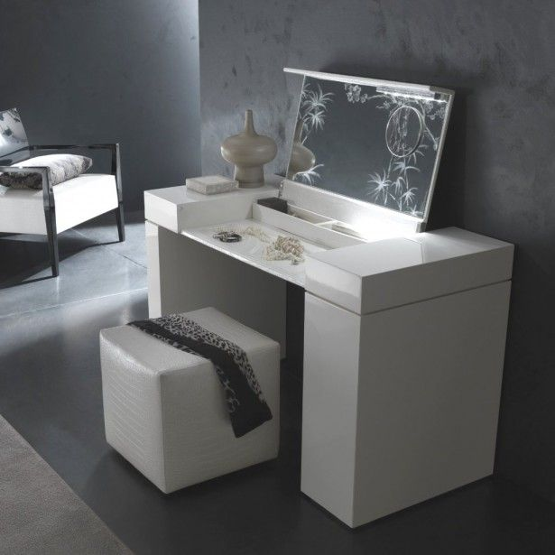 Modern White Dressing Table With Square Stool And Black