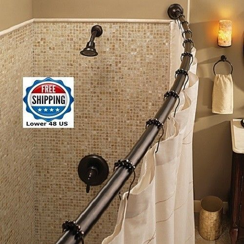 Curved Shower Rod Oil-rubbed Bronze Curved Adjustable Space Saver ...