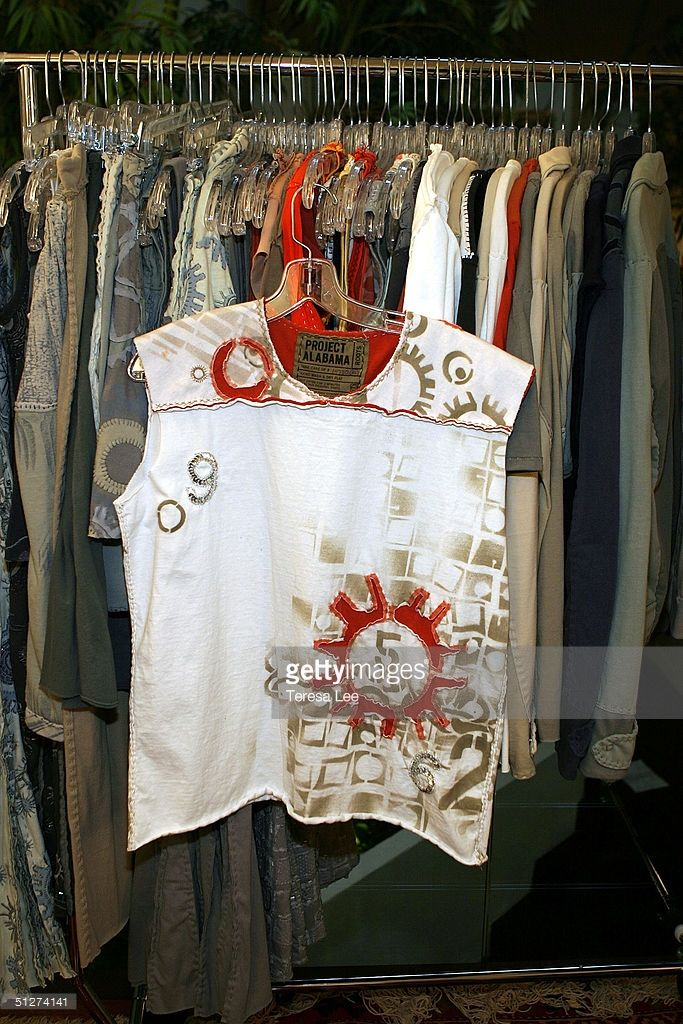 Clothes are seen on display at the Project Alabama Machine during Olympus Fashion Week Spring 2005 September 12, 2004 in New York.