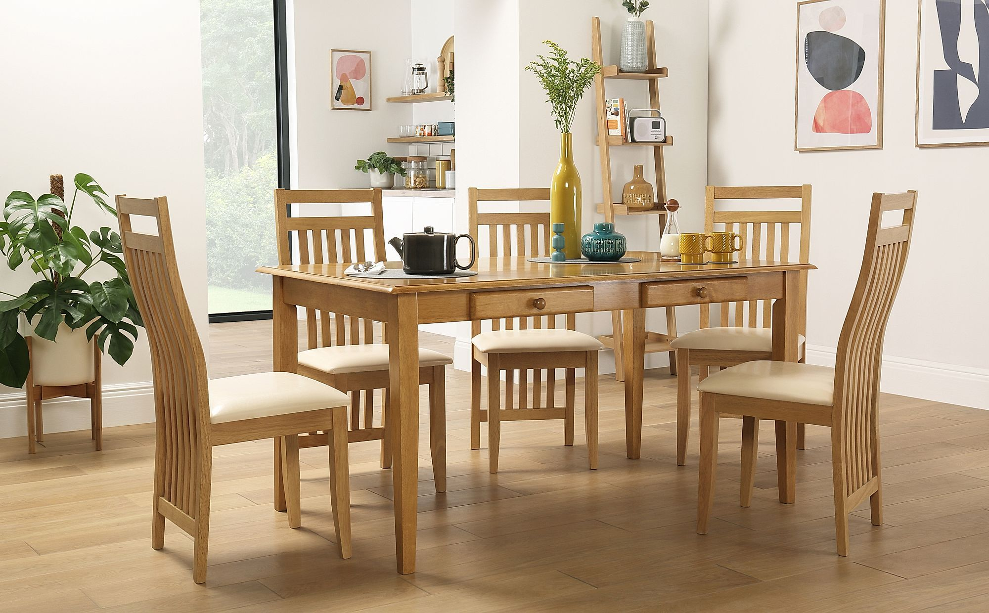 Wiltshire Oak Dining Table With Storage With 6 Bali Chairs