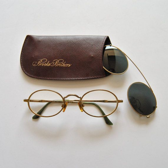 92a316efb4d5 Vintage Brooks Brothers Frames Eyeglasses 80s with Sunglass Clip Ons BB104  by ModernSquirrel
