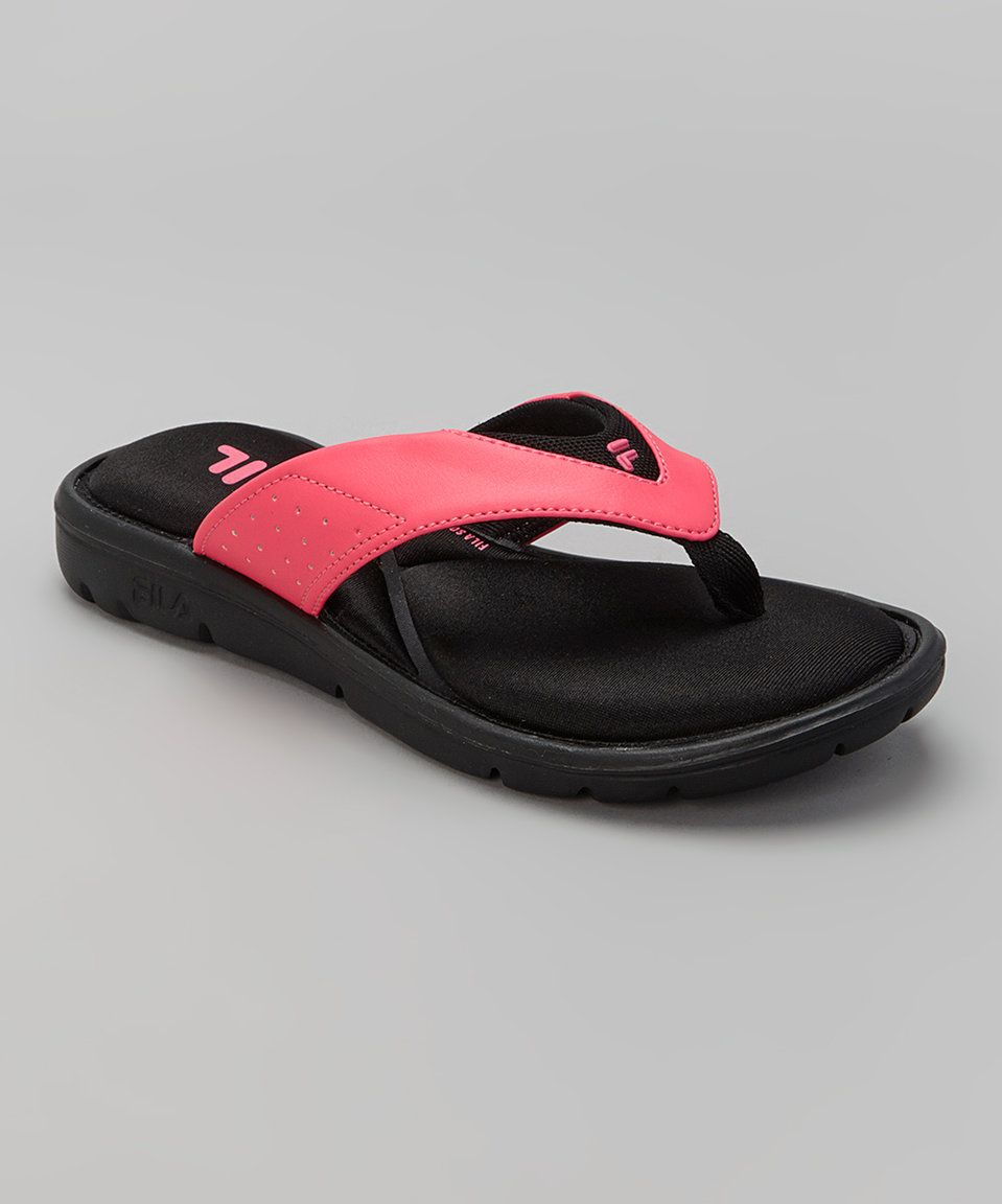 27793efffa05 Take a look at this FILA Black   Hot Pink Amazen Memory Portal Flip Flop  today!
