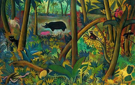 Jungle And Animals Paintings By Danish Hans Scherfig Animal Paintings Painting Painting Illustration