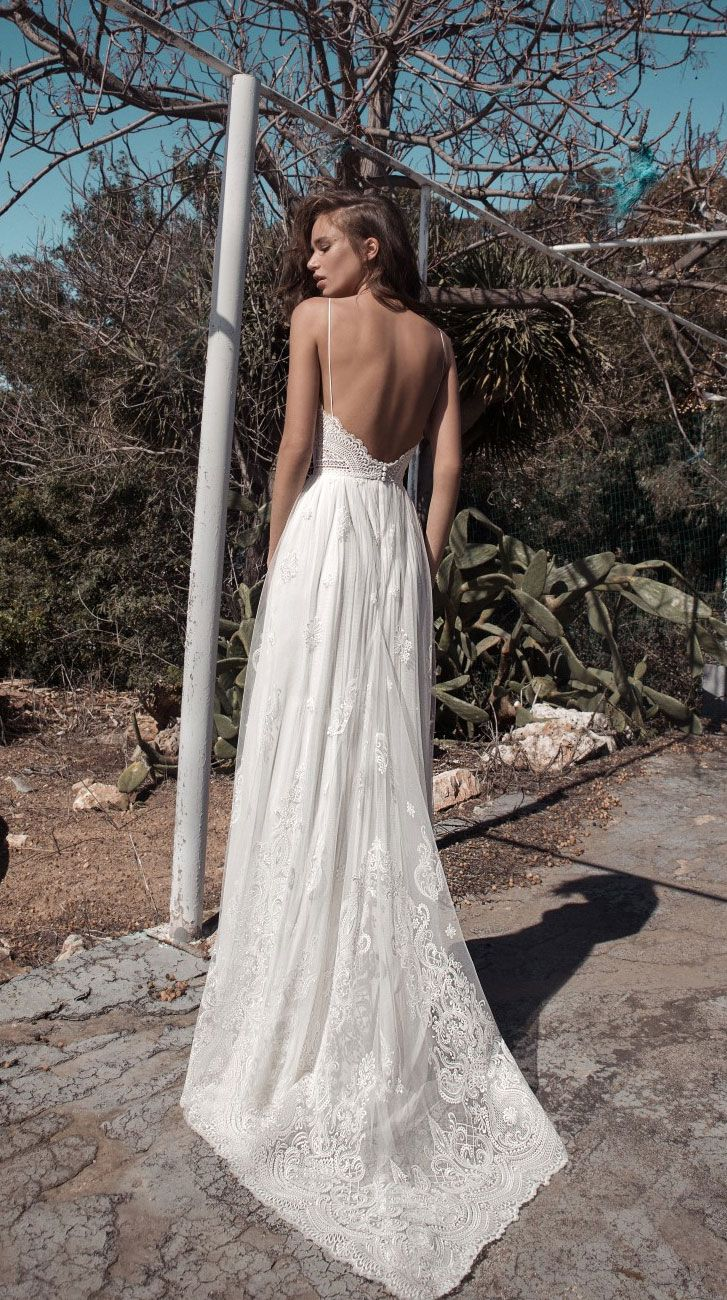 bridal Sleeveless spaghetti strap V neckline heavily embellished bodice bohemian soft a line wedding dress sweep train flora bride #weddingdress #wedding #bride #bohemian #bohobride