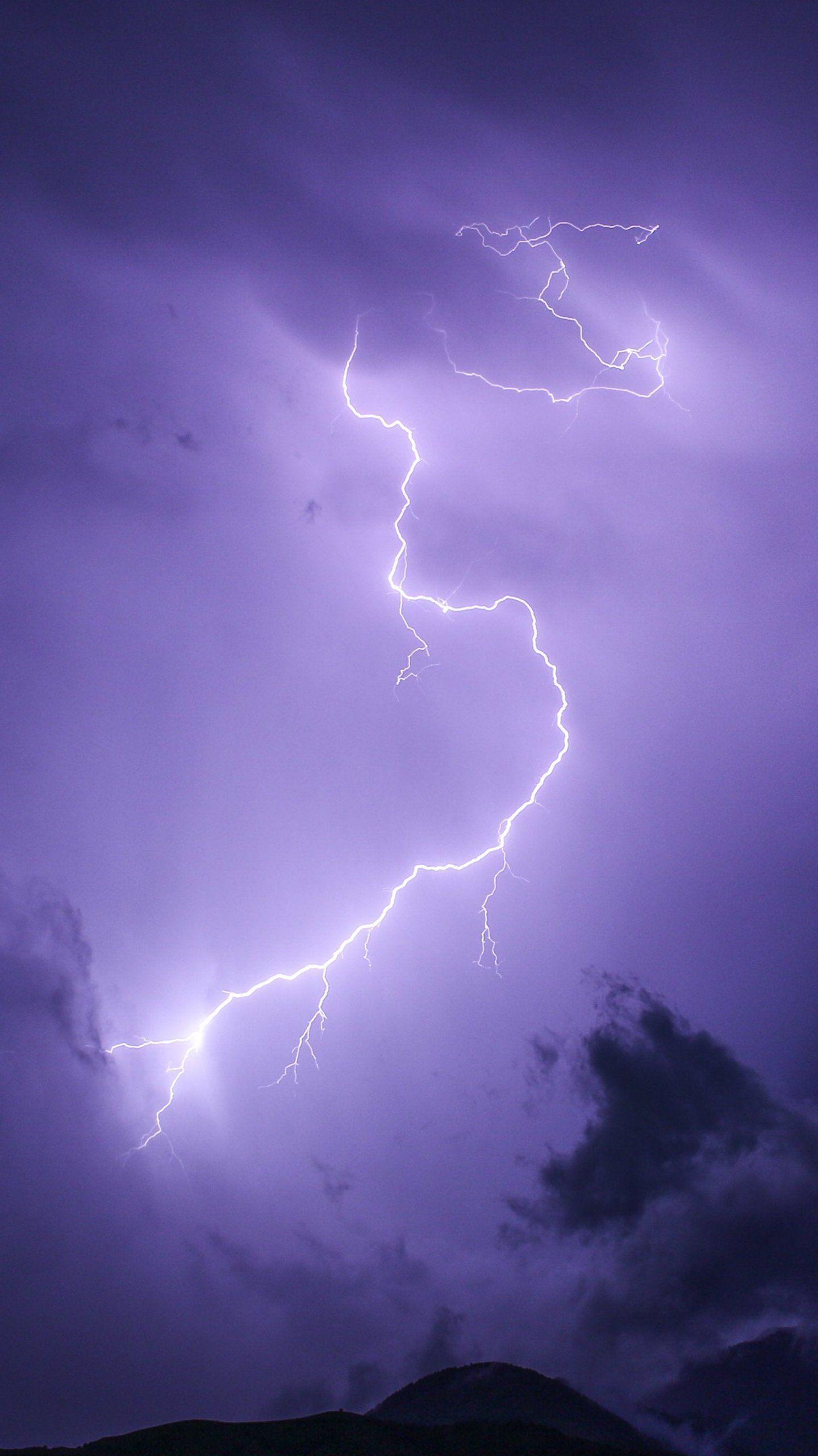 Purple Lightning Wallpaper iPhone Android & Desktop