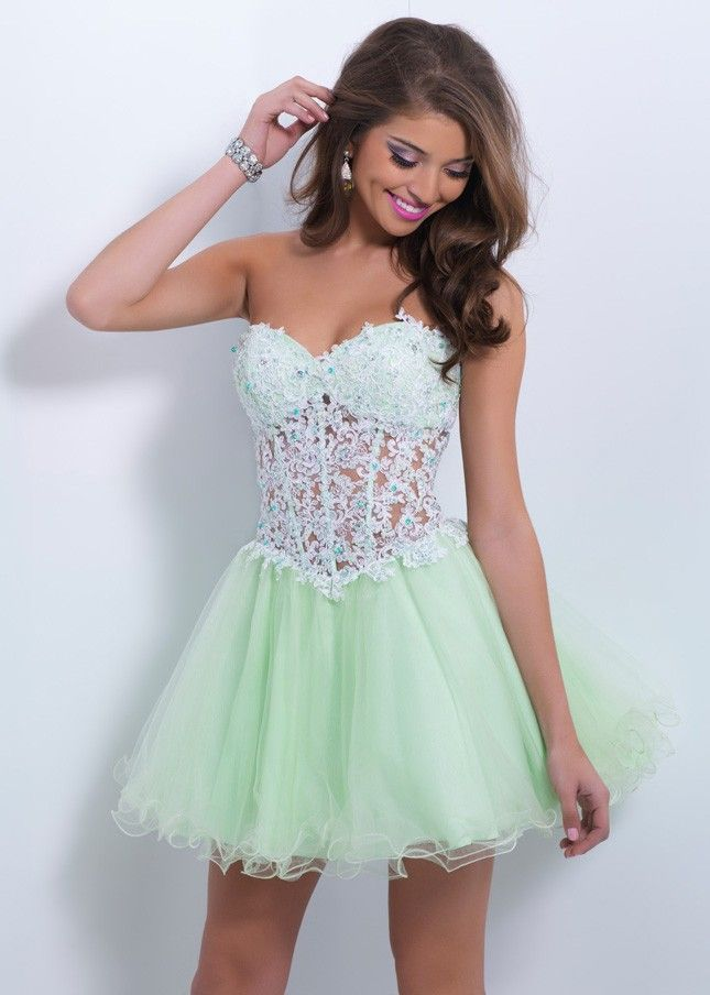 Apple Sorbet Jeweled Lace Short Strapless Sexy Homecoming Dress 2015