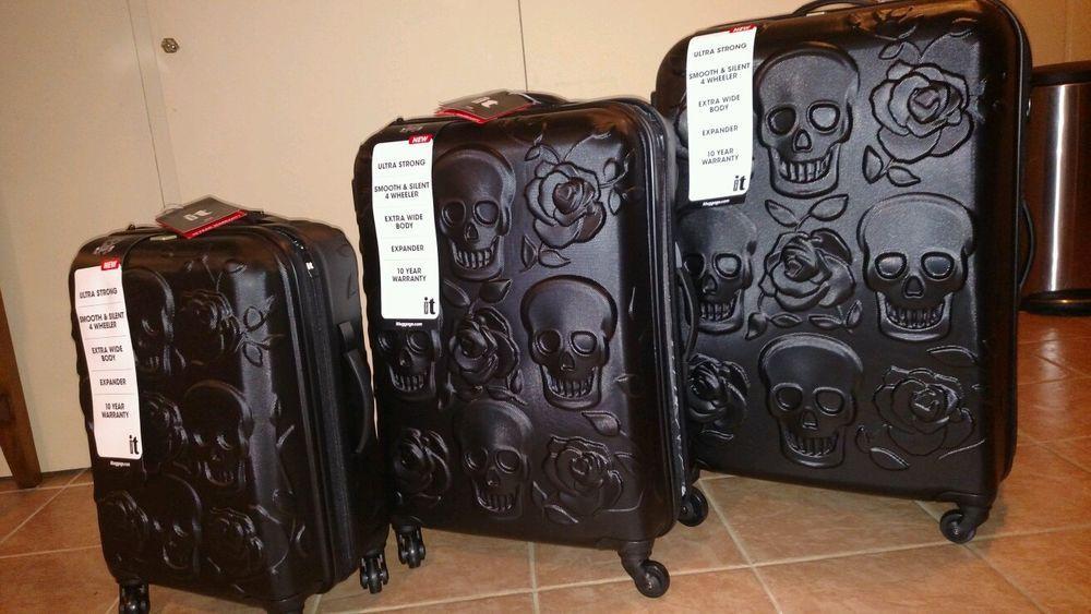 5888bdfe7e28 Black Skull IT Luggage Set of 3 Embossed Hard-side Expandable ...