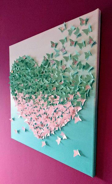 Wanddeko 3d Schmetterlingsherz Bild Auf Leinwand Ein