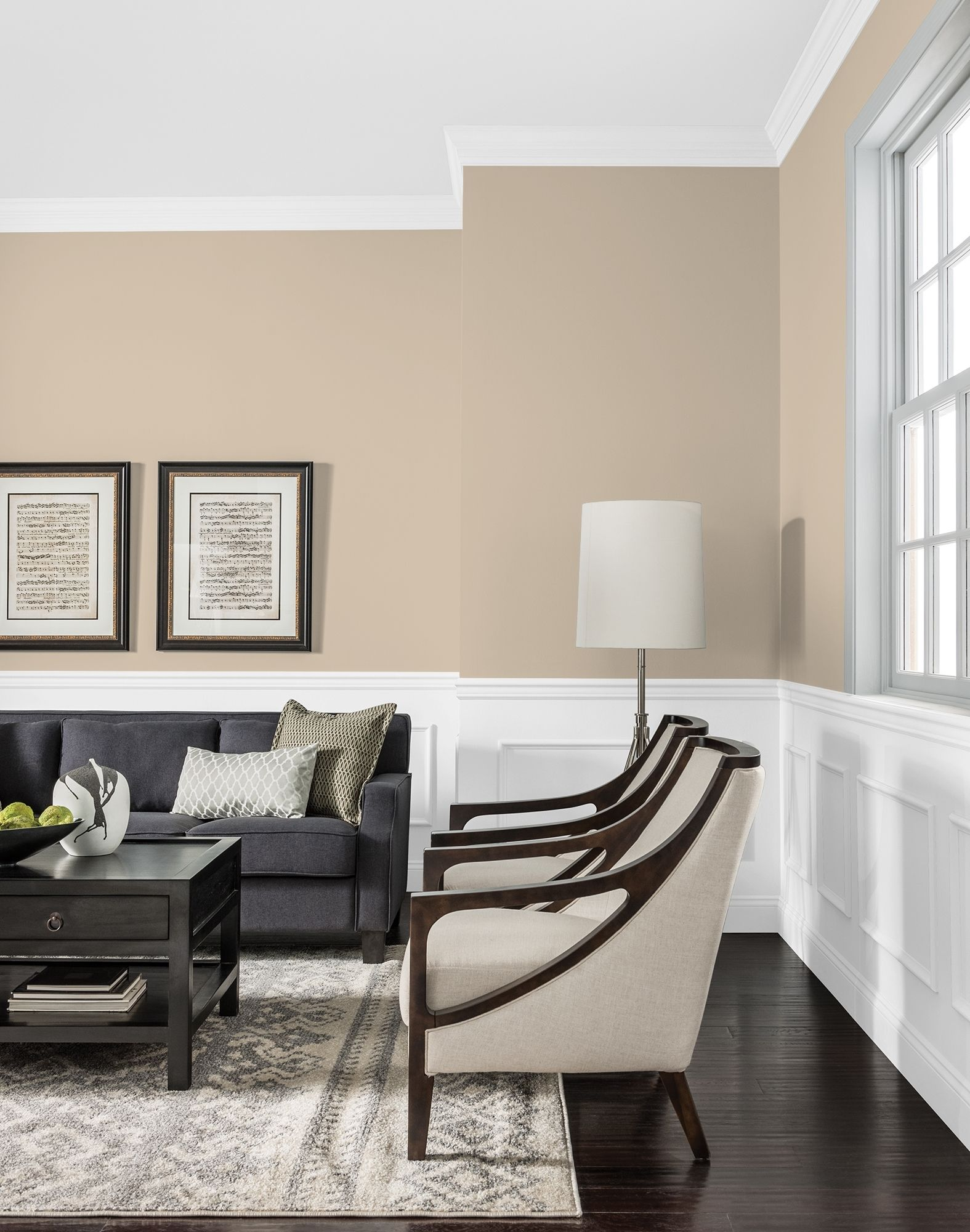 A Stately Neutral Sand Is Pefect For Interior Main Wall Colors Contrast This Neutral With Black Trim Light Blue Living Room Light Blue Rooms Blue Living Room