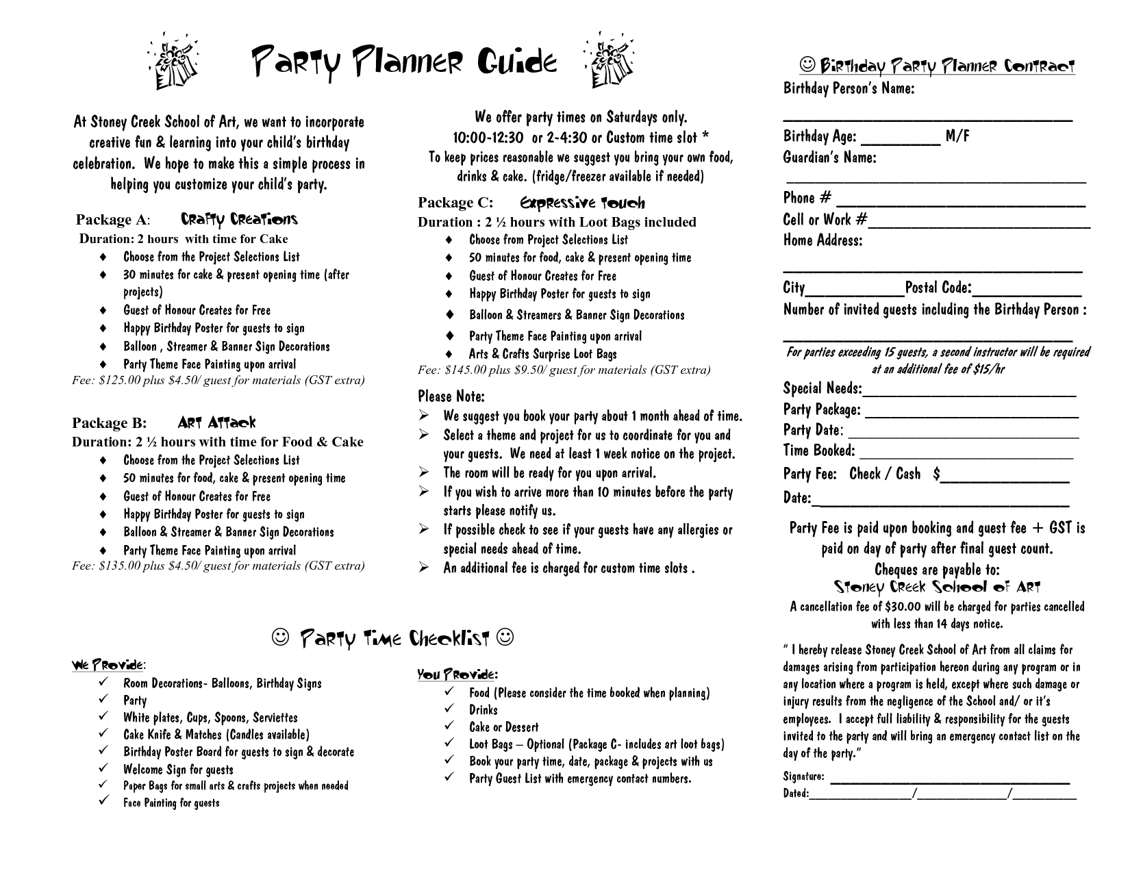 Party Planner Contract Template Google Search Event Planner 101