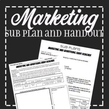 EMERGENCY THEATRE SUB PLAN: Theatre Marketing #emergencysubplans Quick, fun, stand alone worksheet perfect for an emergency sub plan!  This file includes a sub lesson plan and double sided worksheet all about marketing a play that they are working on or a favorite book.  This substitute lesson plan includes: Clear expectations Material list Learning Objective  Double sided Page Worksheet **Does not include text.  This activity is perfect for the scripts and monologues from www.donzolidis.com #emergencysubplans