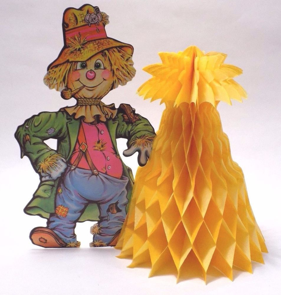 Vintage beistle halloween decorations - Vintage Scarecrow Beistle Halloween Decoration Die Cut Poster Board 11 Haystack