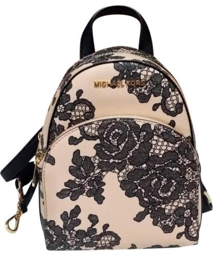 New Womens Michael Kors Abbey X Small Oyster Black Rose Backpack Book Bag Purse Oysters Backchael