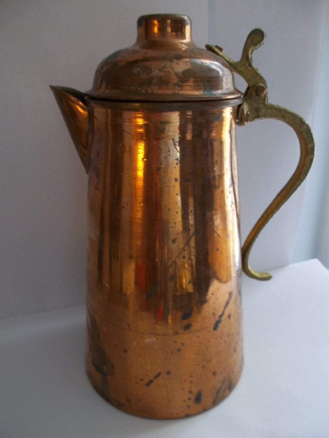 Coffee Pot Planter Vintage Old Copper And Brass Teapot Coffee Pot Vintage