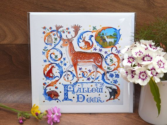 Fallow deer greeting card artists ownilluminated letter medieval fallow deer greeting card artists own medieval style bestiary by tabitha mcbain m4hsunfo