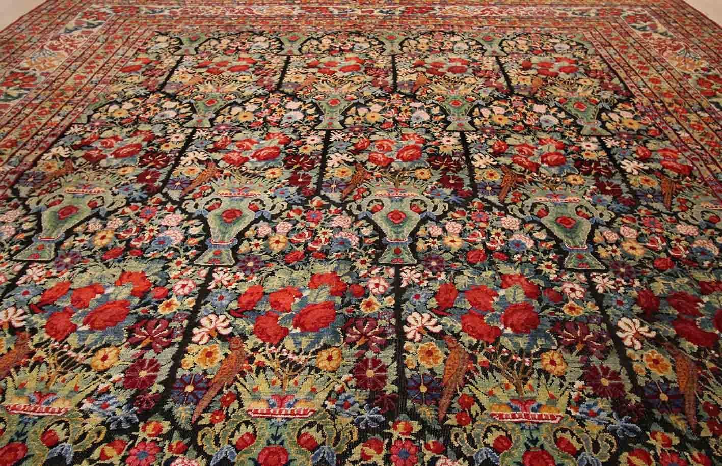 One Of The Most Beautiful Rug Of Kerman 1876 Hossein Kermani Www Malool Com Antique Carpets Beautiful Rug Antiques