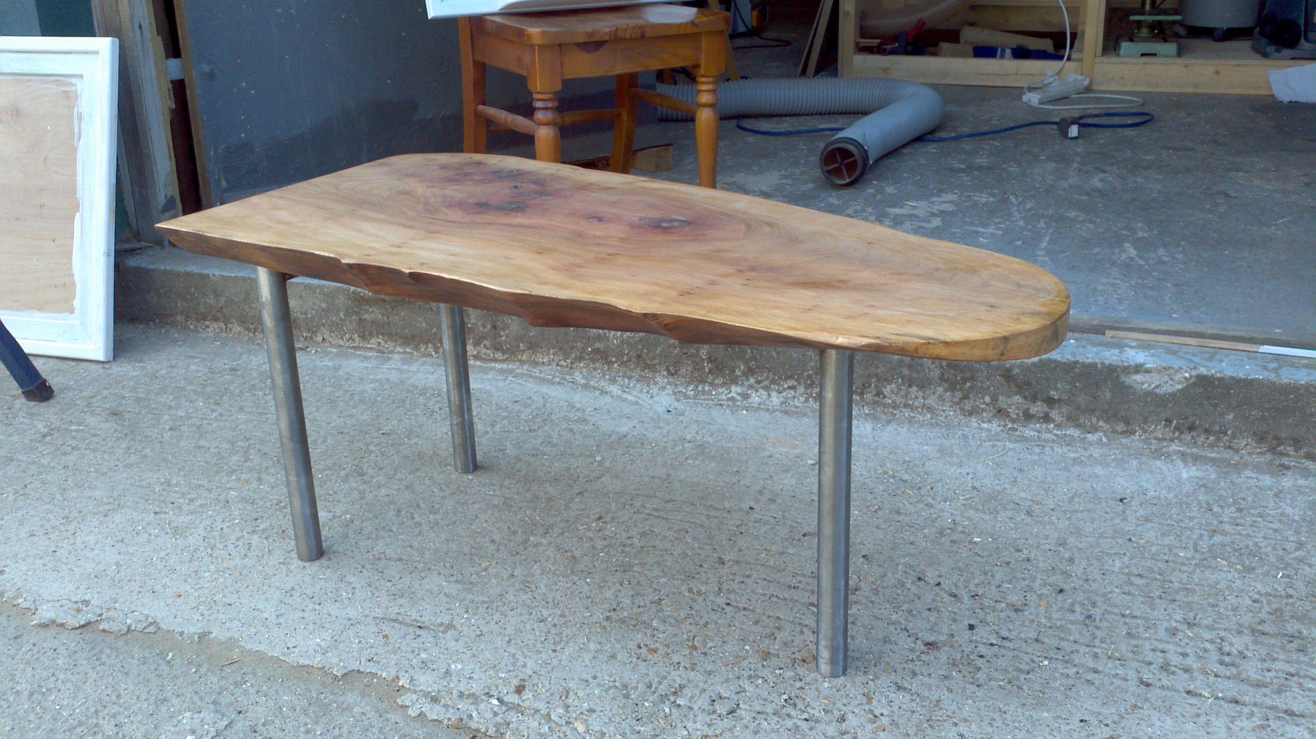 U0027Slabu0027 Coffee Table Made From Solid Cherry Mounted On Steel Tube Legs.