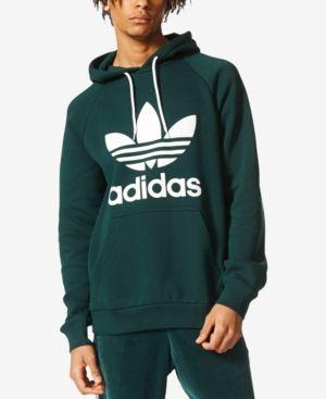 ad0217c0a9d5 adidas Originals Men s Fleece Trefoil Hoodie - Green 2XL
