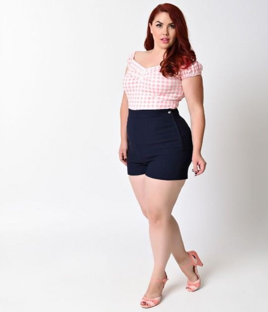 35 Steady Plus Size Rockabilly Navy High Waist Stretch Bombshell ...