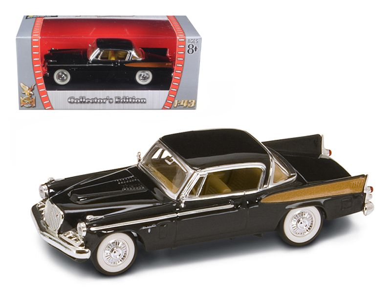 1958 Studebaker Golden Hawk Black 1/43 Diecast Model Car by Road Signature - 1958 Studebaker Golden Hawk Diecast Car Model 1/43 Black Die Cast Car by Road Signature. Made of diecast with some plastic parts. Detailed interior, exterior. Has plastic display stand with window box. Dimensions approximately L-4 inches long. Please note that manufacturer may change packing box at anytime. Product will stay exactly the same.-Weight: 1. Height: 5. Width: 9. Box Weight: 1. Box Width: 9. Box Height…