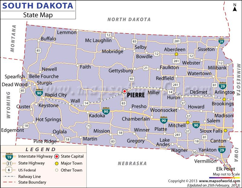 State Map of South Dakota ROAD MAPS OF THE UNITED STATES