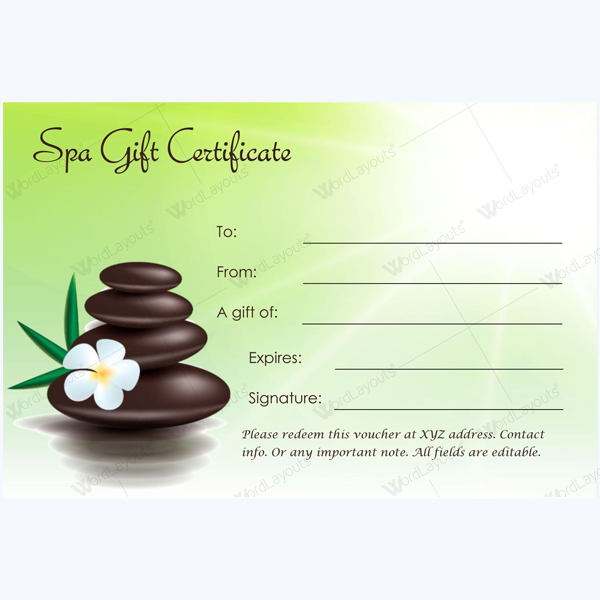 This spa gift certificate template is designed in microsoftr word which makes it easily editable for Editable gift certificate template