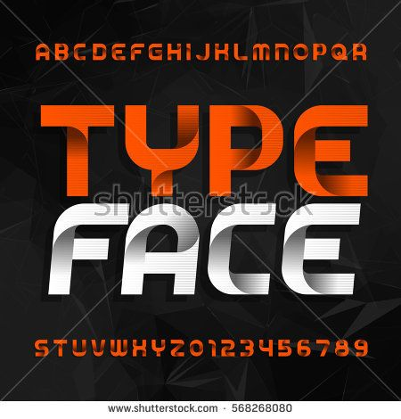 Decorative Alphabet Typeface Type Letters And Numbers On A Dark