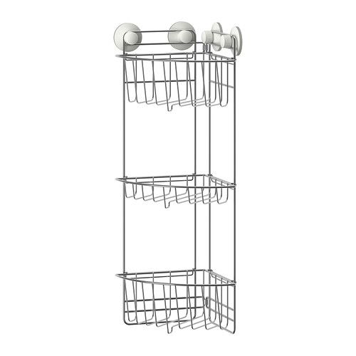 Immeln Shower Corner Shelf Three Tiers Ikea The Suction Cup Grips Smooth Surfaces Made Of Zink Plated Steel Which Is Durable And Rust Resistant